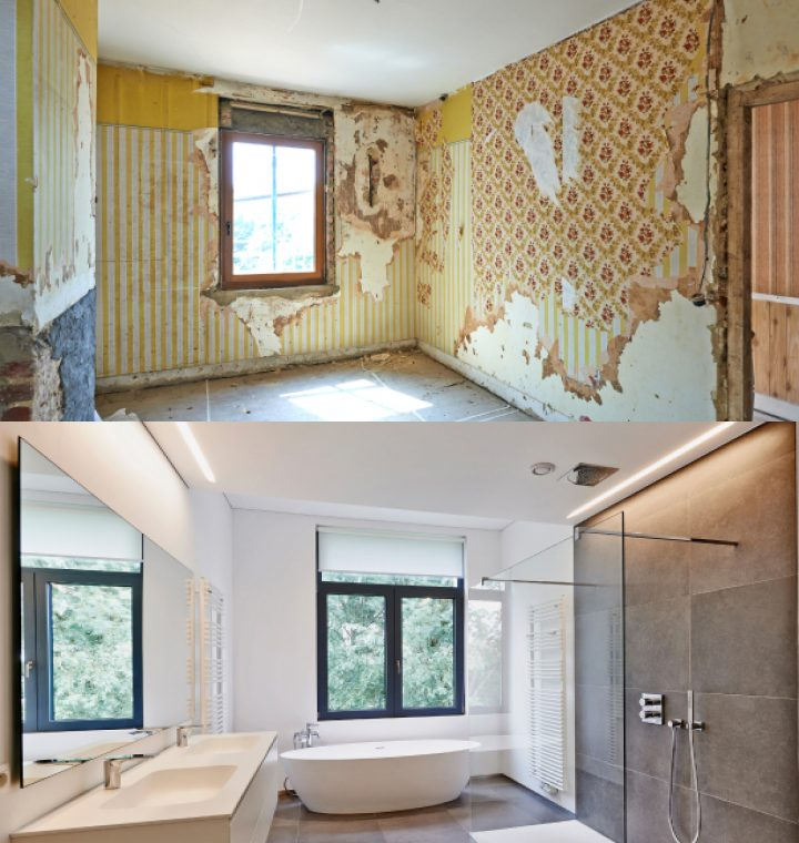 Home interior comparison before and after